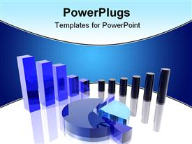 PowerPoint template displaying abstract depiction of different types and different colors charts in the background.