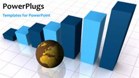 PowerPoint template displaying global economic concept in the background.