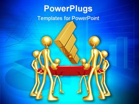 PowerPoint template displaying lots of gold colored human figures holding a bouncing bar chart