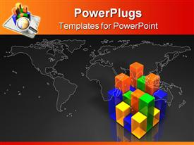PowerPoint template displaying simple multi-color multi-segment bar chart in the background.