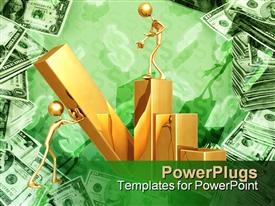 PowerPoint template displaying two humans building gold bar graph with dollar bill background, money, finance, investing