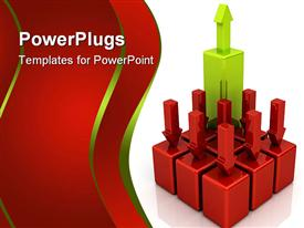 PowerPoint template displaying 3D depiction of eight red blocks with red bars pointing downwards and one higher green block with arrow pointing upwards, red falling bars and green rising bar