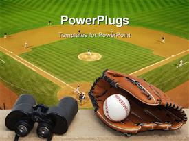 PowerPoint template displaying binoculars, baseball, and glove on ledge overlooking baseball field with game in progress