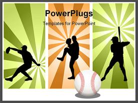 PowerPoint template displaying three tiles with men playing baseball in different positions