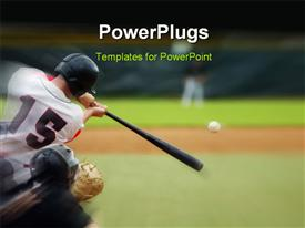 PowerPoint template displaying baseball player immediately after hitting the ball