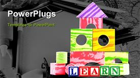Toy building blocks and wooden letter blocks for basic education and elementary concepts powerpoint design layout