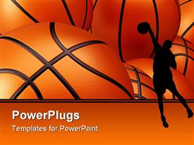 PowerPoint template displaying basketball player shadow against basketballs background