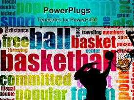 PowerPoint template displaying man dunking basketball into hoop in background with colorful basketball words
