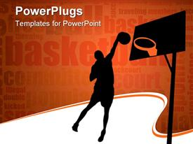 PowerPoint template displaying silhouette of basketball player throwing ball in the hoop bastetball related words on orange background