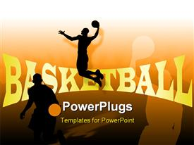 PowerPoint template displaying people playing basketball with their shadows in background