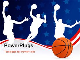 PowerPoint template displaying basketball with silhouette of basket players on abstract background with stars