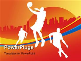 PowerPoint template displaying various basket ball players with orange background