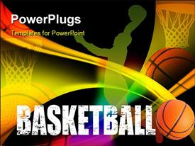PowerPoint template displaying a basketball player's representation with blackish background