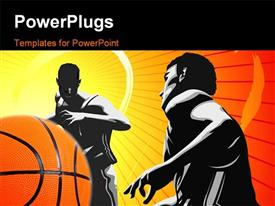 PowerPoint template displaying depiction of basketball game with two players and ball