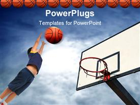 PowerPoint template displaying kid playing basketball aiming basketball to basket, row of basketball balls