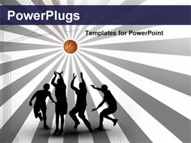PowerPoint template displaying various people playing basketball  with multicolor background