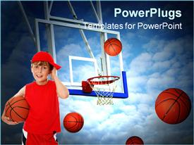 PowerPoint template displaying small boy in red holding a basket ball with other balls