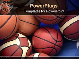 PowerPoint template displaying a collection of basketballs in the picture along with the basket in the background