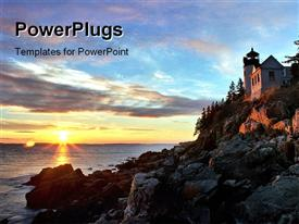 PowerPoint template displaying bass Harbor Head Light