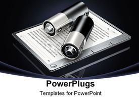 Two large black and silver batteries sitting on top of a silver digital book powerpoint design layout