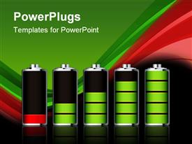 PowerPoint template displaying battery charge showing stages of power running low and full in the background.