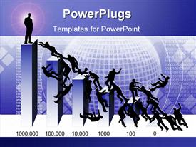PowerPoint template displaying 3D chart bars with one silhouette standing on the top bar and several silhouettes fighting to reach upper positions on the chart with abstract globe surrounded by binary codes