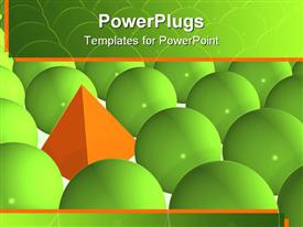 PowerPoint template displaying big Orange Pyramid Among Green Spheres in the background.