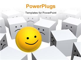 Bright yellow sphere with smile in row of grey boxes  grief powerpoint template