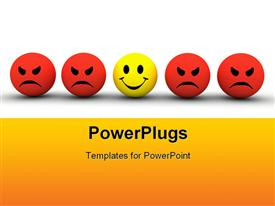PowerPoint template displaying colorful smiley icons representing different emotions and expressions