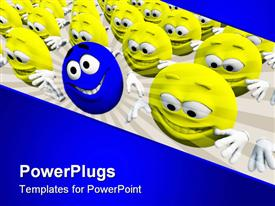 PowerPoint template displaying several yellow smiley faces smiling with one blue distinct smiley face