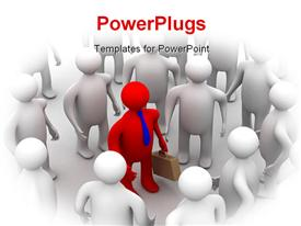 PowerPoint template displaying leadership depiction with red colored 3D business man surrounded by people