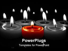 PowerPoint template displaying glowing flames from centre red candle with reflections top and bottom in the background.