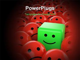 PowerPoint template displaying green happy cube smiley between many red spherical sad others as concept for unique optimistic pos in the background.