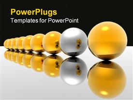 PowerPoint template displaying lots of yellow balls with a different silver colored ball
