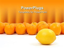 PowerPoint template displaying lemon and oranges on a white background symbolizing teamwork, leadership in the background.
