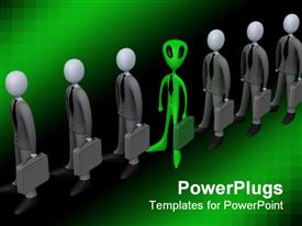 PowerPoint template displaying a number of professionals along with an alien