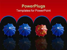 PowerPoint template displaying one red, many blue umbrellas in the background.