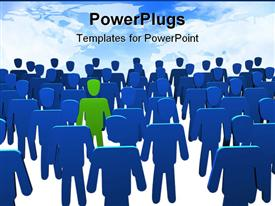 PowerPoint template displaying lots of blue animated human figures with a green one in the middle
