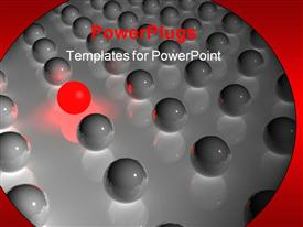PowerPoint template displaying close up of glossy gray spheres and red glowing sphere in row