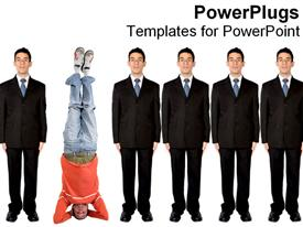 PowerPoint template displaying standing out from the crowd metaphor with man standing on head and group of business men, being different, unique