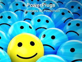 PowerPoint template displaying yellow happy smiley between many blue sad others as concept for unique optimistic positive etc in the background.