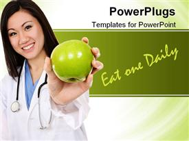 PowerPoint template displaying a doctor showing the apple and words in the background