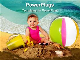 PowerPoint template displaying cute baby playing on sand with a ball bucket and glasses