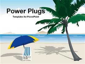 PowerPoint template displaying a palm tree and a chair on the beach