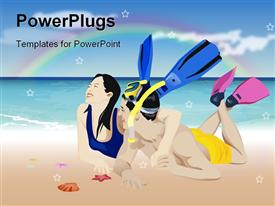 PowerPoint template displaying laughing couple wearing snorkeling gear on beach with rainbow background