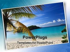 PowerPoint template displaying postcard of beautiful beach scene with palm tree, sand beach and ocean water
