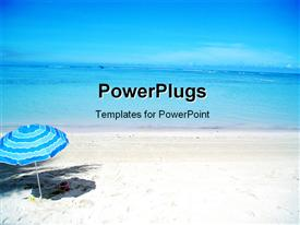 PowerPoint template displaying scenery of beautiful beach with cute blue umbrella in beach sand
