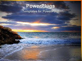 PowerPoint template displaying an exotic beach with rocks along with sun being set in the west