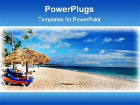 PowerPoint template displaying framed depiction of Caribbean beach and Sea with lounge chairs and umbrellas and palm trees