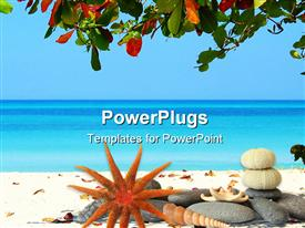 Beautiful scene at beach in Jamaica powerpoint theme